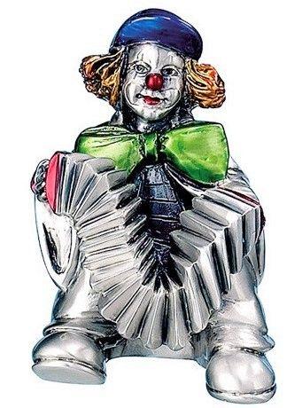 Серебряная коллекционная фигурка клоуна с аккордеоном, высота 10 см. (Valenti & Co, Италия)