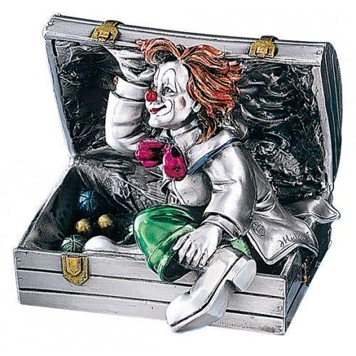 Серебряная коллекционная фигурка клоуна в чемодане, высота 11 см. (Valenti & Co, Италия)