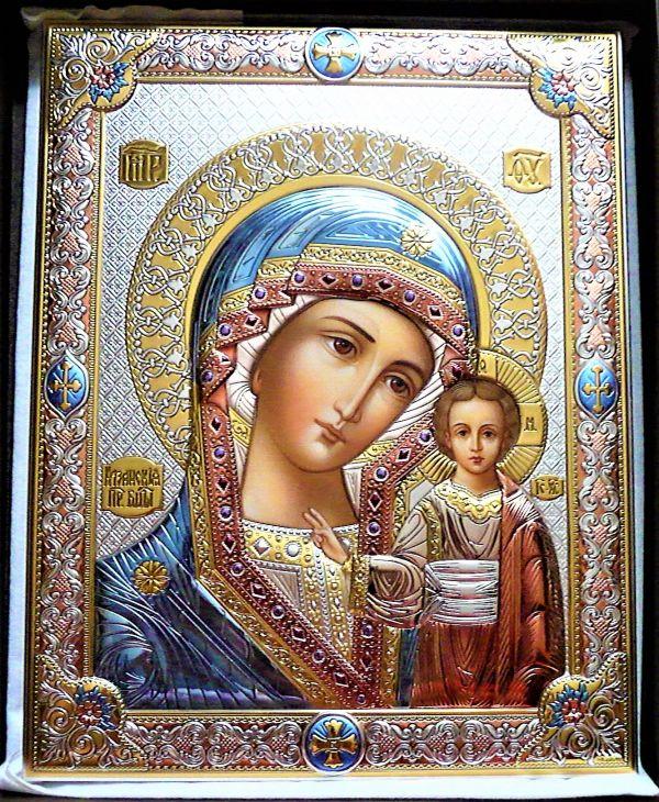 Серебряная икона Божья Матерь Казанская (листовое серебро, Valenti & Co, Италия)