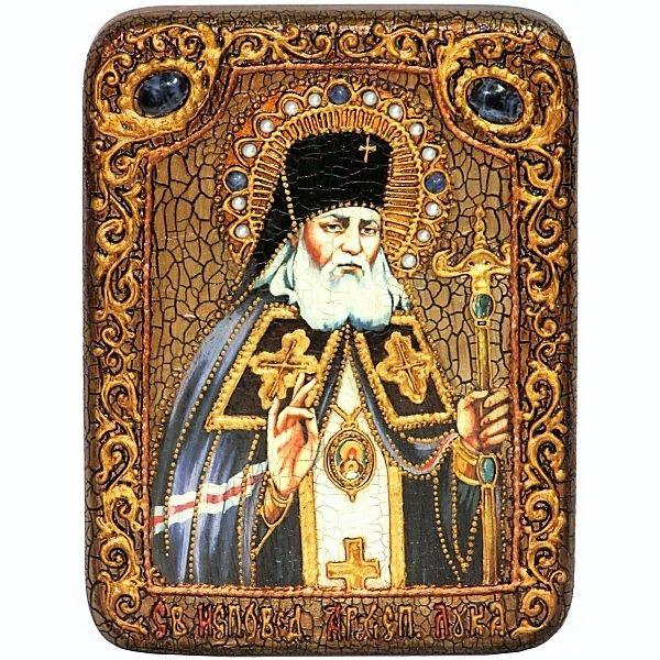 Инкрустированная настольная икона Преподобный Антоний Великий (15*20см., «Раздолье», Россия) на натуральном мореном дубе, в подарочной коробке
