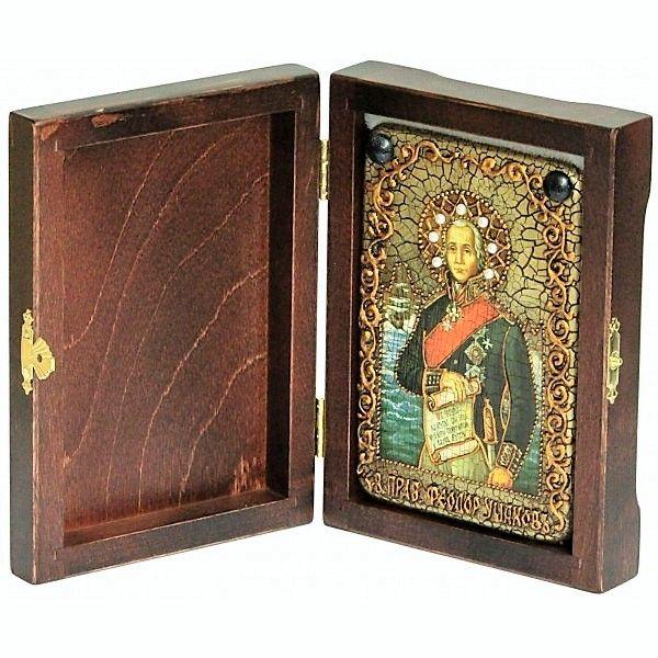 Инкрустированная настольная икона Святой праведный воин Феодор Адмирал (Ушаков) (10*15см., «Раздолье», Россия) на натуральном мореном дубе, в подарочной коробке