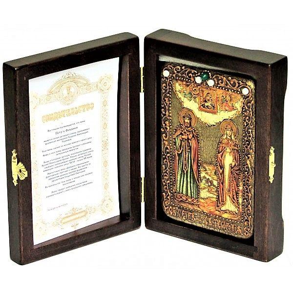 Инкрустированная настольная икона Петр и Февронья (10*15см., Россия) на натуральном мореном дубе, в подарочной коробке