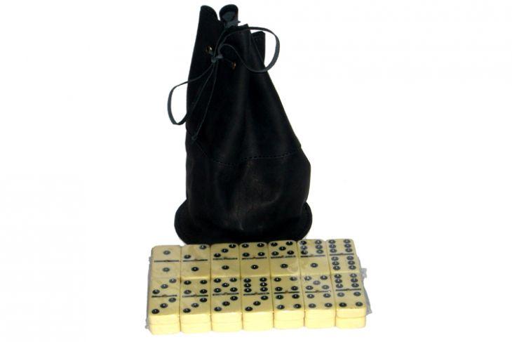 Домино профессиональное D6 в черном мешочке из телячьей кожи