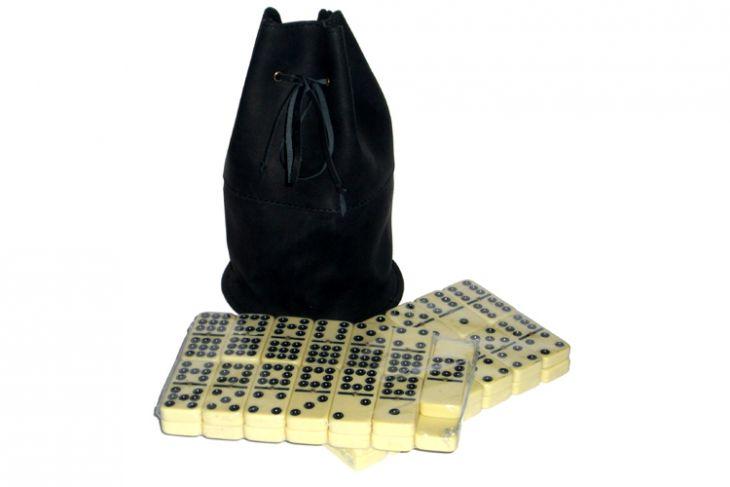 Домино профессиональное D9 в черном мешочке из телячьей кожи