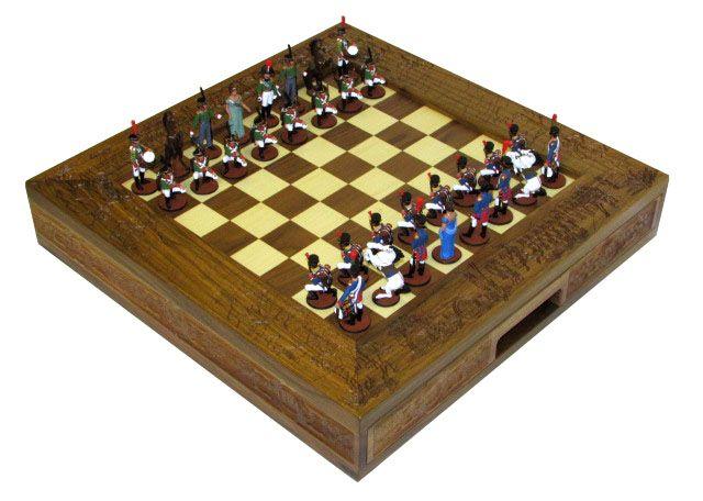 """Шахматы исторические эксклюзивные """"Бородино"""" с фигурами из олова покрашенными в полу коллекционном качестве"""