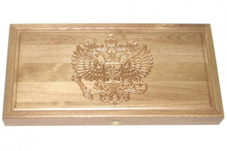 """Резные нарды из массива натурального дуба """"Россия"""""""