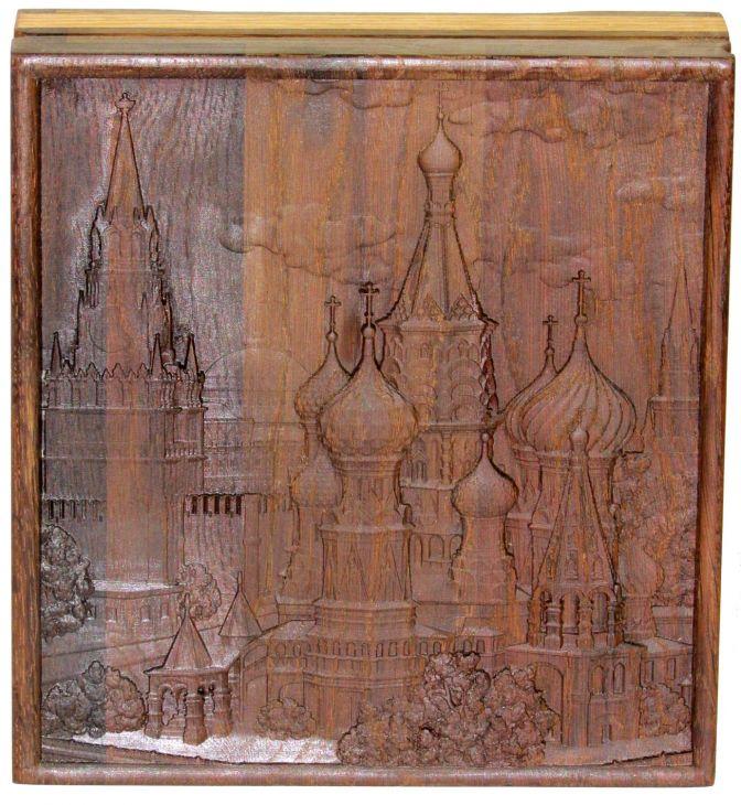 """Шкатулка """"Покровский собор"""" из массива черного дуба 21x23 см"""