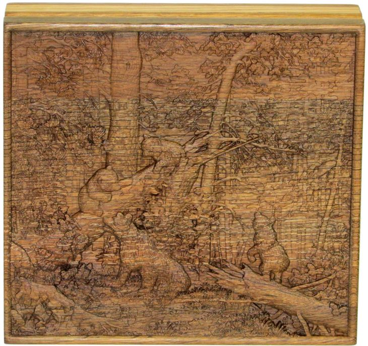 """Шкатулка """"Утро в сосновом лесу"""" из массива черного дуба 21x23 см"""