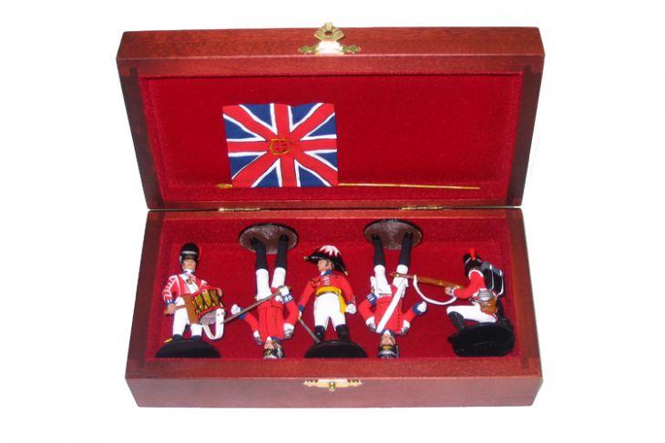 """Набор миниатюр в деревянной шкатулке """"Англичане при Ватерлоо"""" (5 фигур)"""
