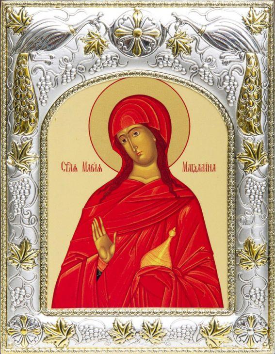 Серебряная икона именная Мария Магдалина (14*18см., гальванопластика, Россия-Италия)