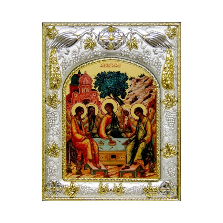 Серебряная икона Святая Троица (14*18см., гальванопластика, Россия-Италия)