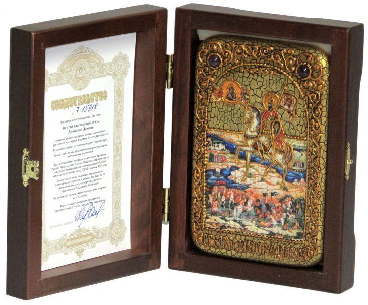 Инкрустированная икона князь Димитрий Донской (10*15см, Россия) на мореном дубе